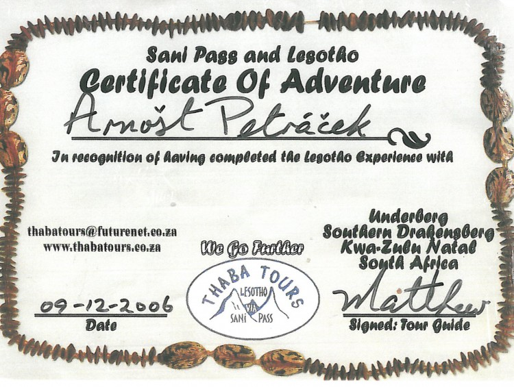 51_Sani Pass and Lesotho - Certificate of Adventure